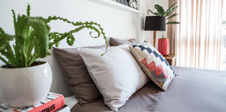 Dicas para o Quarto Invista em opções em 100% algodão e abuse das cores!