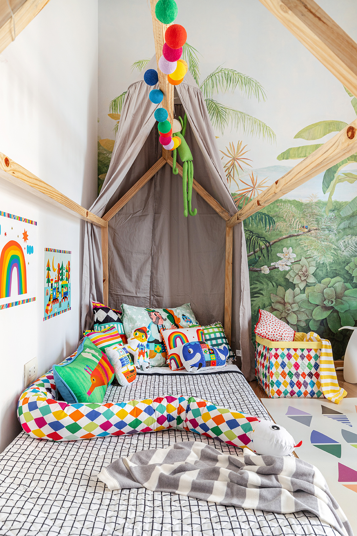 cama casinha com tenda cinza
