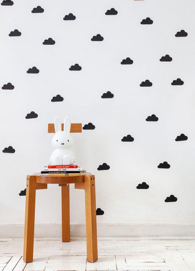 adesivo para quarto de bebê nuvens pretas